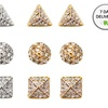 Three Pairs of Gold or Silver Geometric Pave Stud Earrings