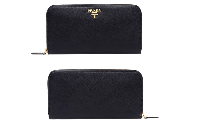 prada leather wallet women
