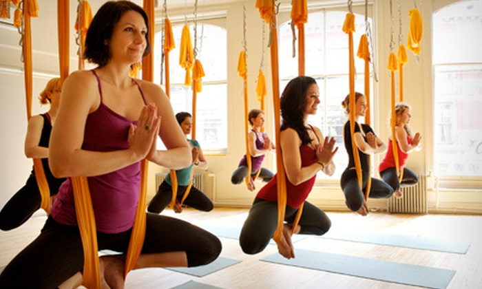 OM Factory - Multiple Locations: 5 or 10 Yoga Classes at Om Factory (Up to 65% Off)