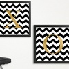 "24""x24"" Chevron Wall Art with Gold Monogram"