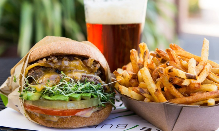 Pure Burger - Carlsbad: Organic Grass-Fed Beef Burgers and Fries for Two or Four at Pure Burger (45% Off)