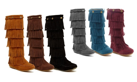 Shoes of Soul Women's 5-Layer Fringe Boot
