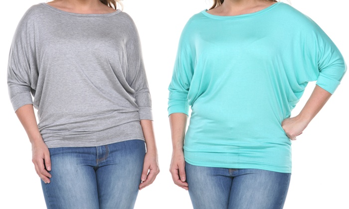 Women's 3/4 Sleeve Top in Plus Sizes