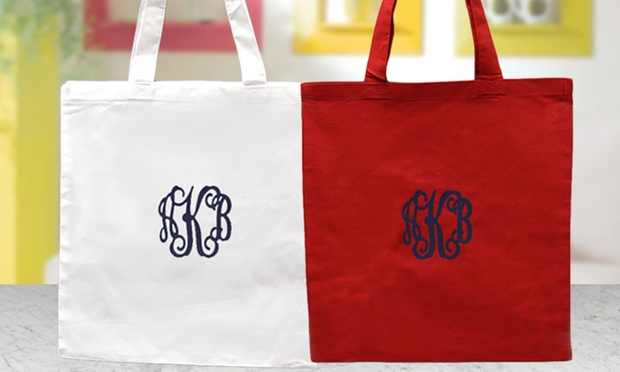Personalized Monogrammed Cotton Tote Bag 1 Or 2 Pack