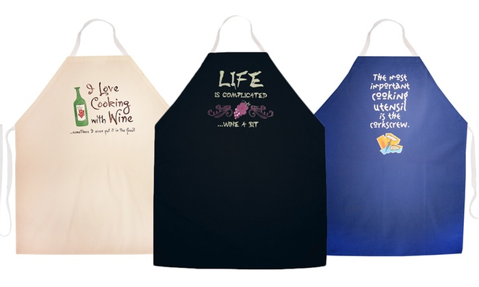 Wine themed kitchen aprons groupon for Apron designs and kitchen apron styles