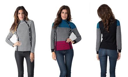 Women's Houndstooth Turtleneck Sweater