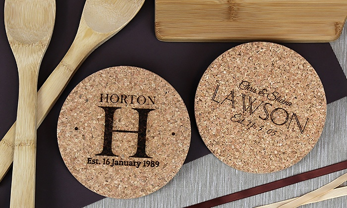 Monogram Online: $5 for a Personalized Cork Hot Pad from Monogram Online ($19.99 Value)