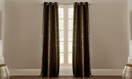Pencil Leaf Jacquard Curtain Panel (2-Pack)