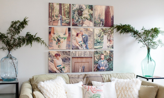 "PhotoBarn: Nine Piece Custom Wood Wall Art Available in 8""x8"", 12""x12"", or 16""x16"" (Up to 75% Off)"