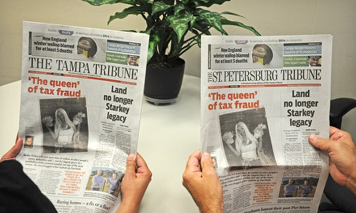 "The Tampa Tribune / The St. Petersburg Tribune - Tampa Bay Area: 52-Week Sunday, Thursday–Sunday, or Online-Only Subscription to ""The Tampa Tribune"" (Up to 78% Off)"