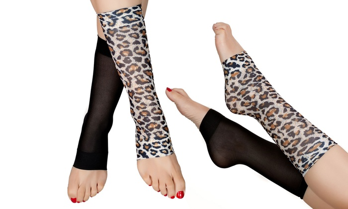 Leopard and Black Compression Open Toe Knee High Socks: Leopard and Black Compression Open Toe Knee High Socks (2-Pack)
