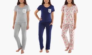 Catherine Malandrino Ruffle Trim Pocket or Long Pant Pajama Set