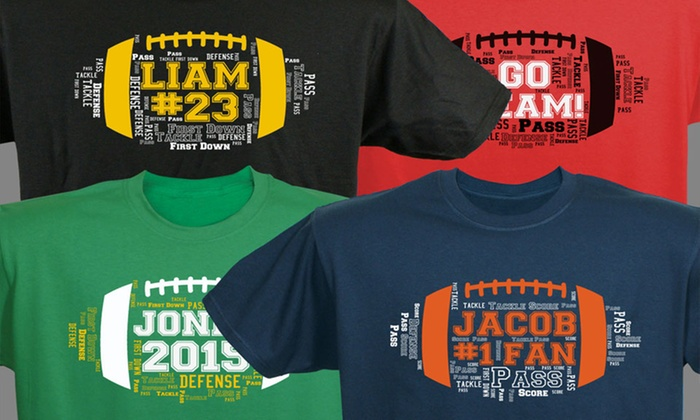 GiftsForYouNow.com: One Custom Football, Baseball, or Basketball Word-Art T-Shirt from GiftsForYouNow.com (40% Off)