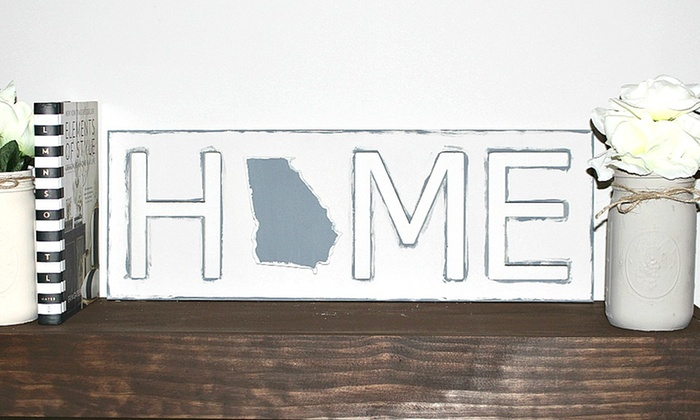 Whimsy Timber: Finished or Unfinished Custom Home-State Wooden Signs from Whimsy Timber (Up to 50% Off)