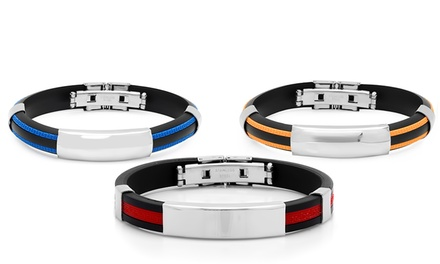 Men's Genuine Rubber Bracelet with Stainless Steel Accents