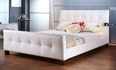 Full or Queen Size Grid-Tufted Upholstered Platform Bed in White from $299.99–$319.99