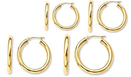 14K Gold French Lock Hoop Earrings