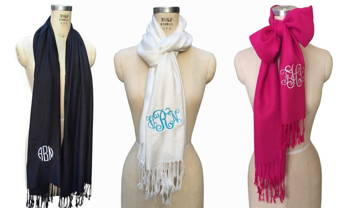 Social Monograms: $17.99 for a Custom Pashmina Monogram Scarf from Social Monograms ($40 Value)