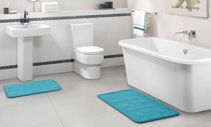 memory foam bath rug set 2pc groupon goods. Black Bedroom Furniture Sets. Home Design Ideas