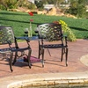 Bronze Cast Aluminum Outdoor Adjoining Chair and Table Set