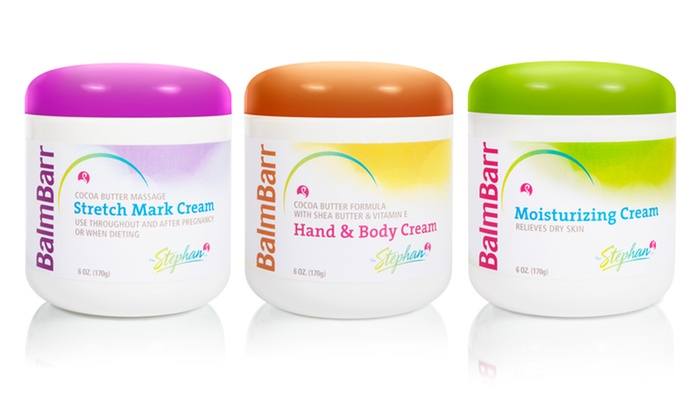 Balm Barr Skincare Three-Pack: Balm Barr Stretch Mark, Hand and Body, and Moisturizing Skincare Creams
