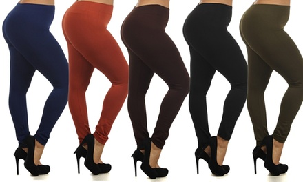 Women's Plus Size Fleece-Lined Leggings (5-Pack)