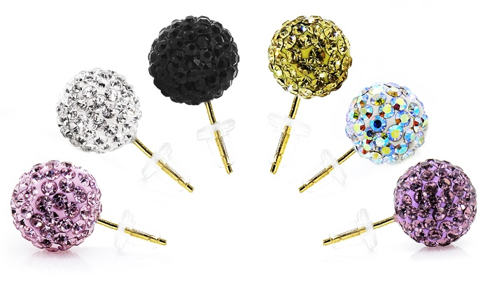 14K Gold Swarovski Elements Crystal Ball Stud Earrings: 14K Gold Swarovski Elements Crystal Ball Stud Earrings