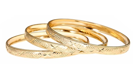 18-Karat Gold-Plated 3-Piece Bangle Set. Multiple Styles Available