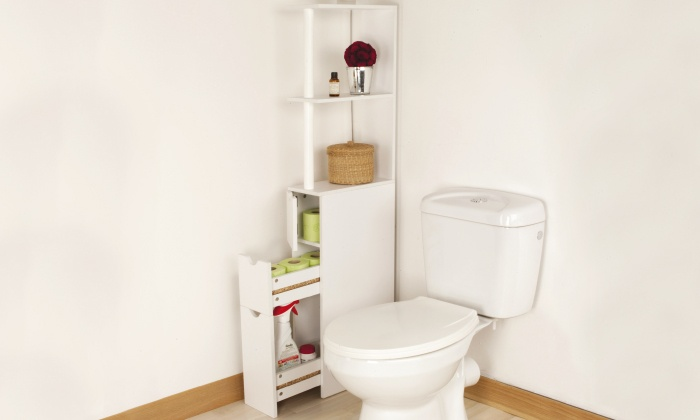 Meuble toilette gain de place for Meuble pour toilette castorama