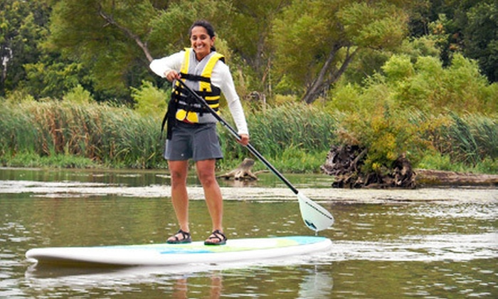 Salty Dog Paddle - Fortville: Standup Paddleboard Rental or Lesson for One or Two from Salty Dog Paddle (Up to 52% Off)