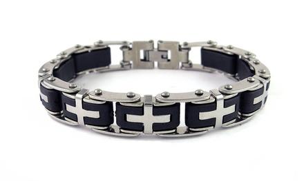 Men's Rubber Cross Link Bracelet in Stainless Steel