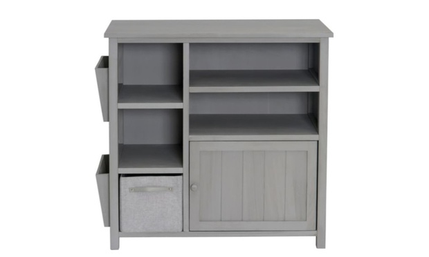 Slimline Storage Unit With Jute Box And Side Pockets For 50
