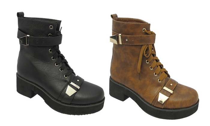 Yoki Women's Era Combat Boot with Studs or Straps: Yoki Women's Era Combat Boot with Studs or Straps. Multiple Colors Available. Free Shipping and Returns.