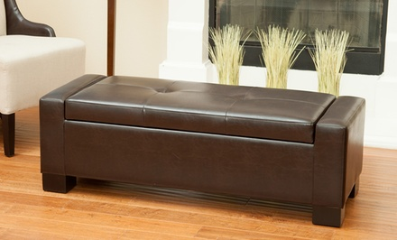 Bonded Leather Tufted Storage Ottoman. Five Colors Available.