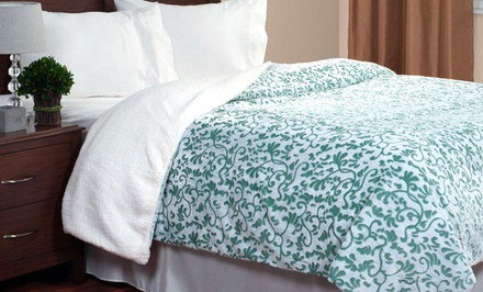 Lavish Home Botanical Etched Fleece Blankets with Sherpa Available from $29.99—$39.99