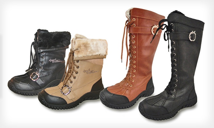 Apple Bottoms All-Weather Boots: $27 for Apple Bottoms Women's All-Weather Lace-Up Boots (Up to $130 List Price). 22 Options Available. Free Shipping.