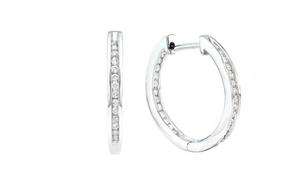 1/2 CTTW Diamond Hoop Earrings in 10K White Gold