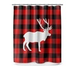 Plaid-Print Shower Curtain with Reindeer Design