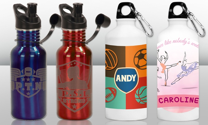 Monogram Online: Personalized White or Stainless-Steel Water Bottle from Monogram Online (Up to 50% Off)