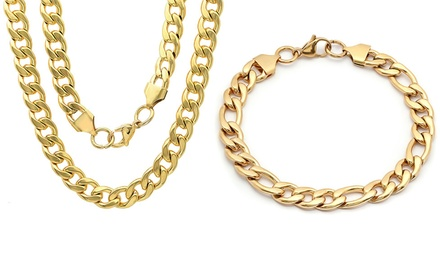 Men's Cuban and Figaro Bracelets or Necklaces From $23.99–$26.99