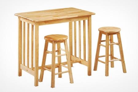 Hardwood Breakfast Bar Set Groupon Goods