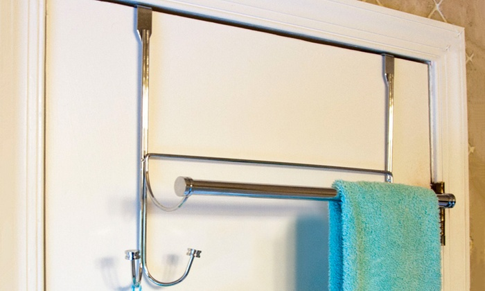 BathSense Over-the-Door Towel Rack with Hooks BathSense Over-the- ... & BathSense Over-the-Door Towel Rack with Hooks | Groupon pezcame.com