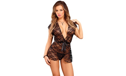 Champagne Lace Wrap and G-String Set