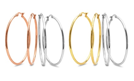 18-Karat Gold-Plated and Silver-Tone Stainless Steel Hoop Earrings (Two Pairs)