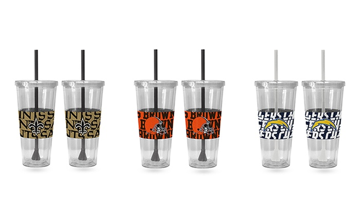 2-Pack of NFL Tumblers with Straws and Neoprene Sleeves: 2-Pack of NFL Tumblers with Straws and Neoprene Sleeves