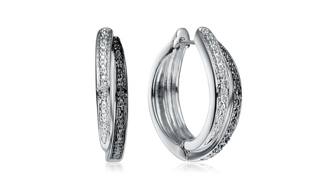 0.02 CTW Lab-Created Diamond White and Black Hoop Earrings