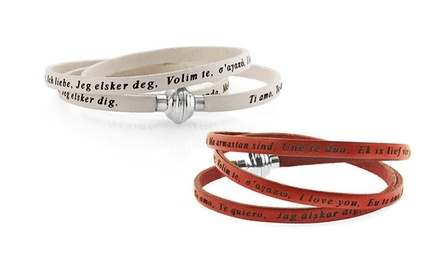 Genuine Leather Bracelet with I Love You in Over 20 Languages
