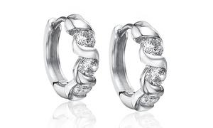 2.00 Cttw Crystal Huggie Earrings With Swarovski Elements