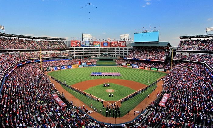 Texas Rangers - Globe Life Park in Arlington: Texas Rangers Baseball Game at Globe Life Park on April 28 or 29 (Up to 29% Off). Two Seating Options Available.