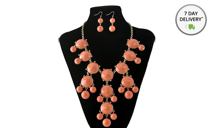 Bubble Necklace and Earrings Sets: Bubble Necklace and Earrings Set. Multiple Colors Available. Free Returns.